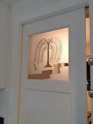 Etched Willow Glass in Door